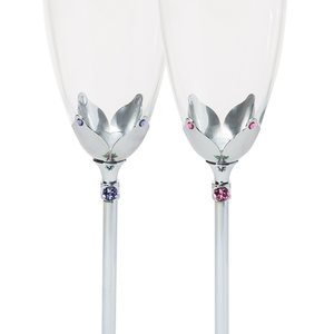 【PEONY】2 Become 1 Crystal Champagne Flute Set