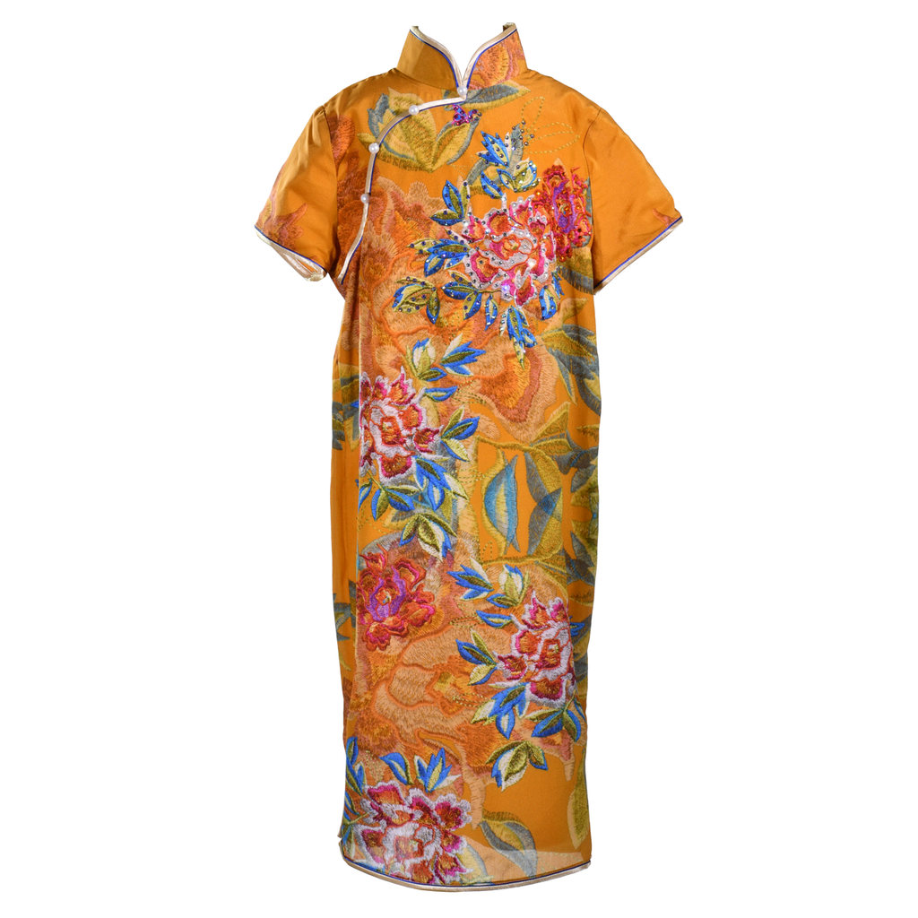 【PEONY】100% Silk Cheongsam with Crystals-Junior - THE SPARKLE COLLECTION by GERMAN POOL