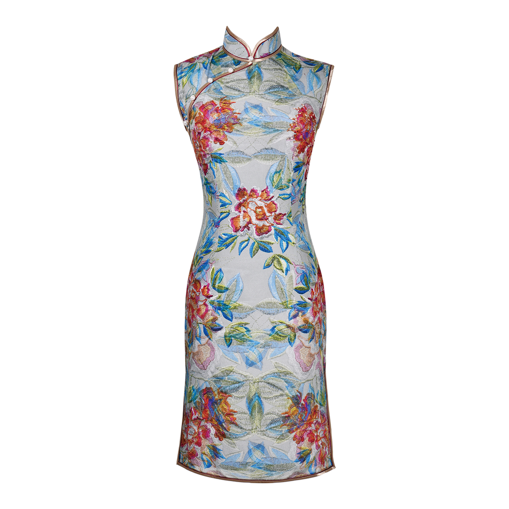 【PEONY】100% Silk Crystal Cheongsam (Sleeveless / Regular Fit)