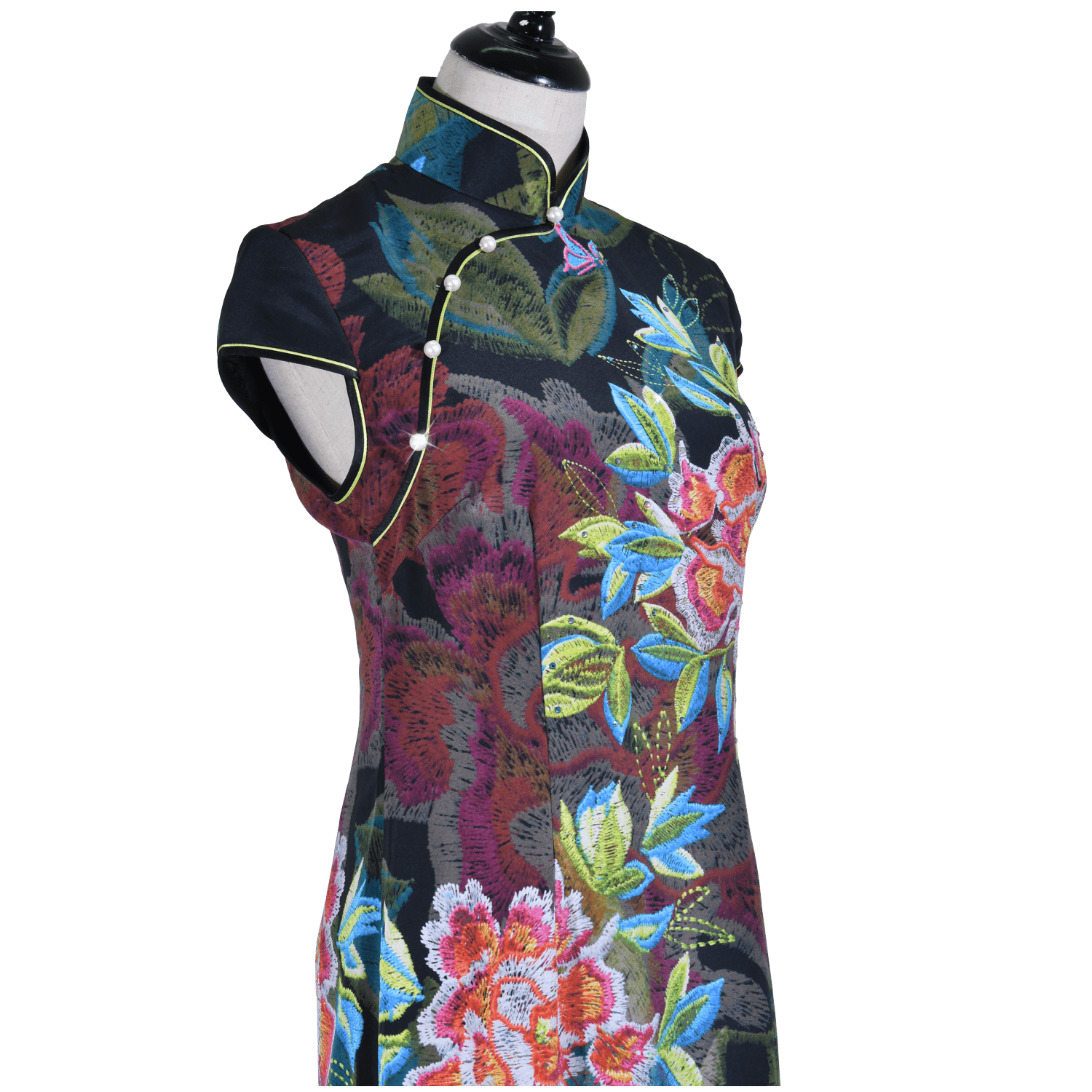 【PEONY】 100% Silk Crystal Cheongsam - THE SPARKLE COLLECTION by GERMAN POOL
