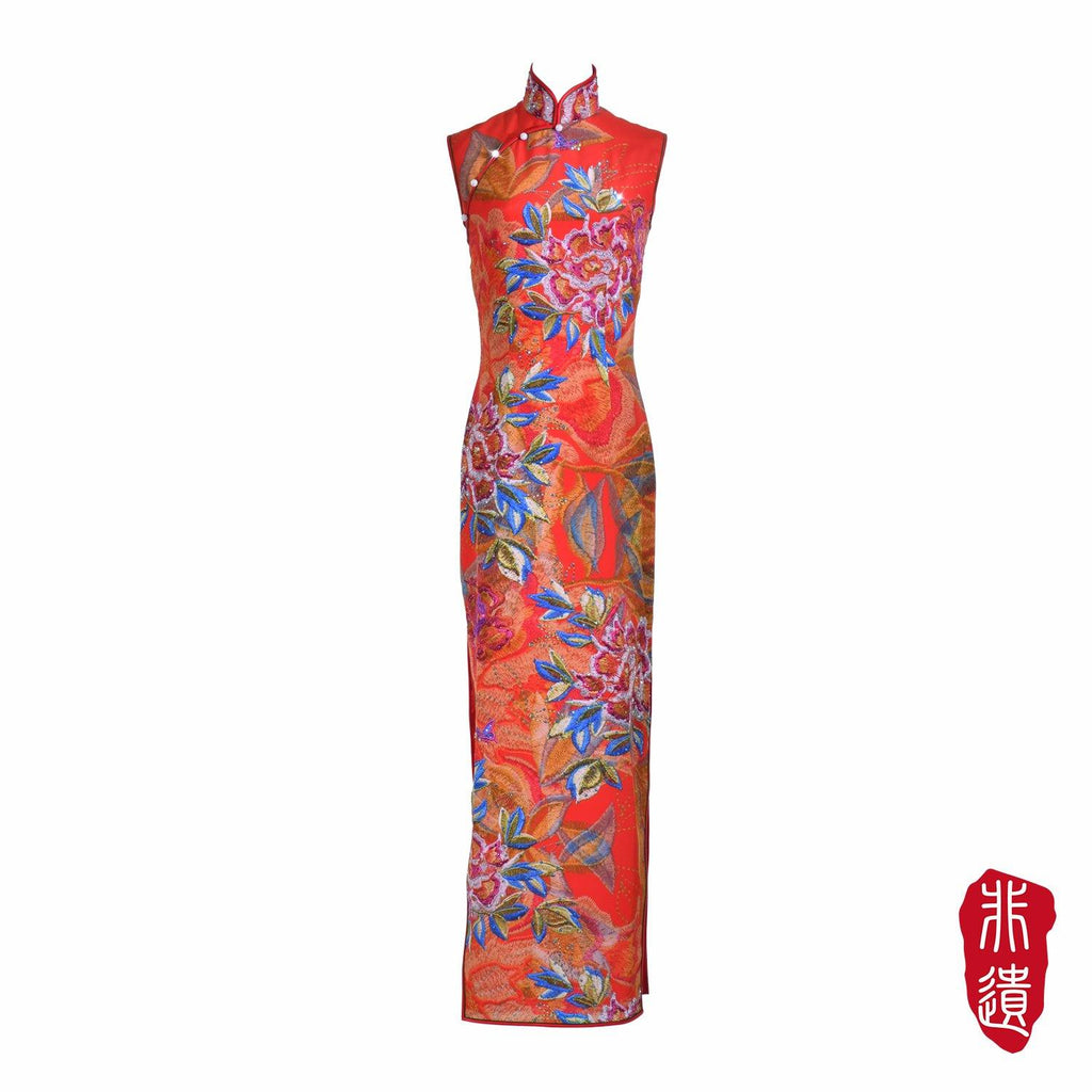 【PEONY】Masterpiece Collection Haute Couture 100% Silk Crystal Cheongsam (Sleeveless/Tailored Fit)
