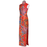 【PEONY】100% Silk QiPao with Swarovski®Crystals-Ankle Length-Red(Handmade Couture by Master Fung)