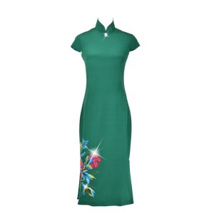 【PEONY】 100% Silk Crystal Cheongsam with Single Crystal Blossom(Cap Sleeve / Regular Fit) - THE SPARKLE COLLECTION by GERMAN POOL