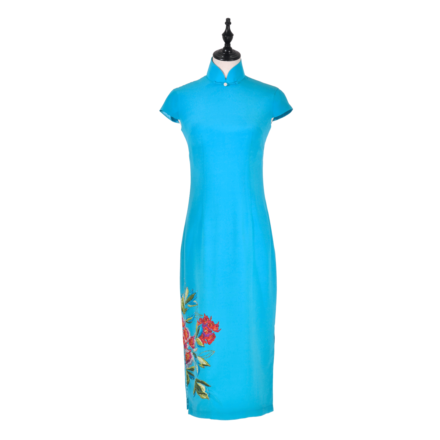【PEONY】 100% Silk Crystal Cheongsam (Cap Sleeve / Regular Fit) - THE SPARKLE COLLECTION by GERMAN POOL