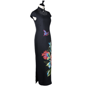 【PEONY】100% Cashmere and 100% Silk Crystal Cheongsam - THE SPARKLE COLLECTION by GERMAN POOL
