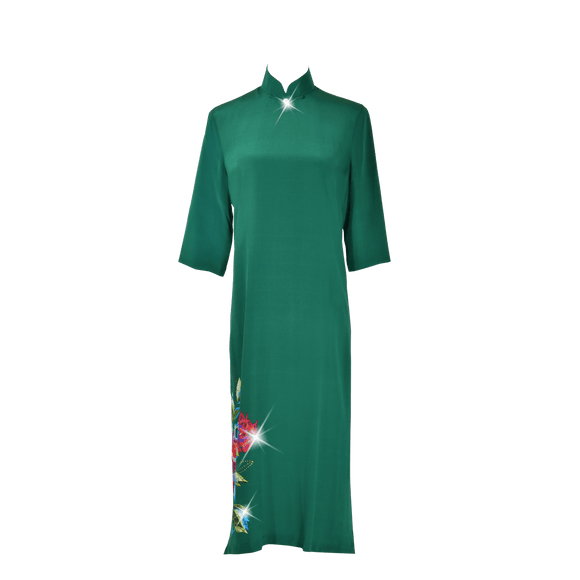 【PEONY】100% Silk Below Knee Qipao with Swarovski®Crystals - Emerald (Loose Fit)