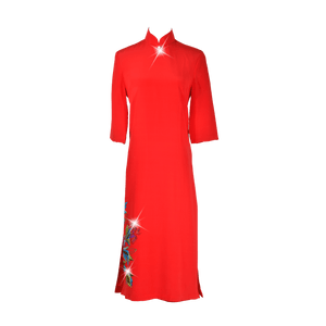 【PEONY】100%  Silk Crystal Cheongsam - THE SPARKLE COLLECTION by GERMAN POOL