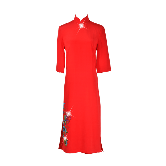 【PEONY】100% Silk Below Knee Qipao with Swarovski®Crystals - Red (Loose Fit)