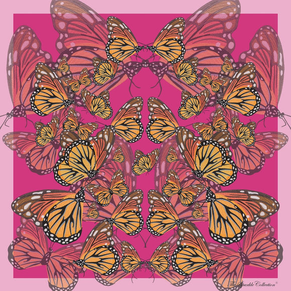 【BUTTERFLY】100% Silk Scarf with Swarovski® Crystals - Pink