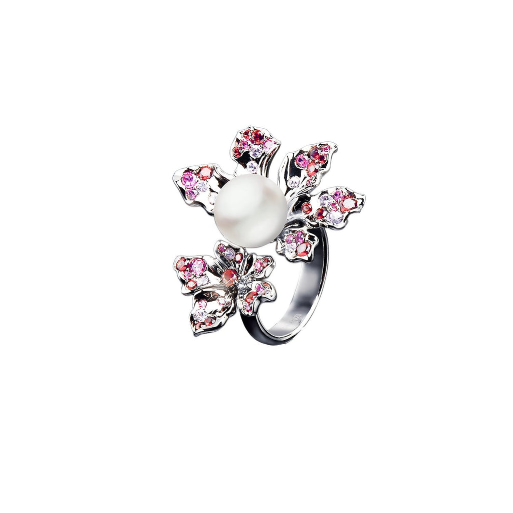 【BAUHINIA】925 Sterling Silver Pink & Purple Gemstone Ring - THE SPARKLE COLLECTION by GERMAN POOL