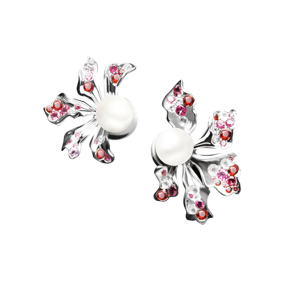 【BAUHINIA】925 Sterling Silver Pink & Purple Gemstone Earrings - THE SPARKLE COLLECTION by GERMAN POOL