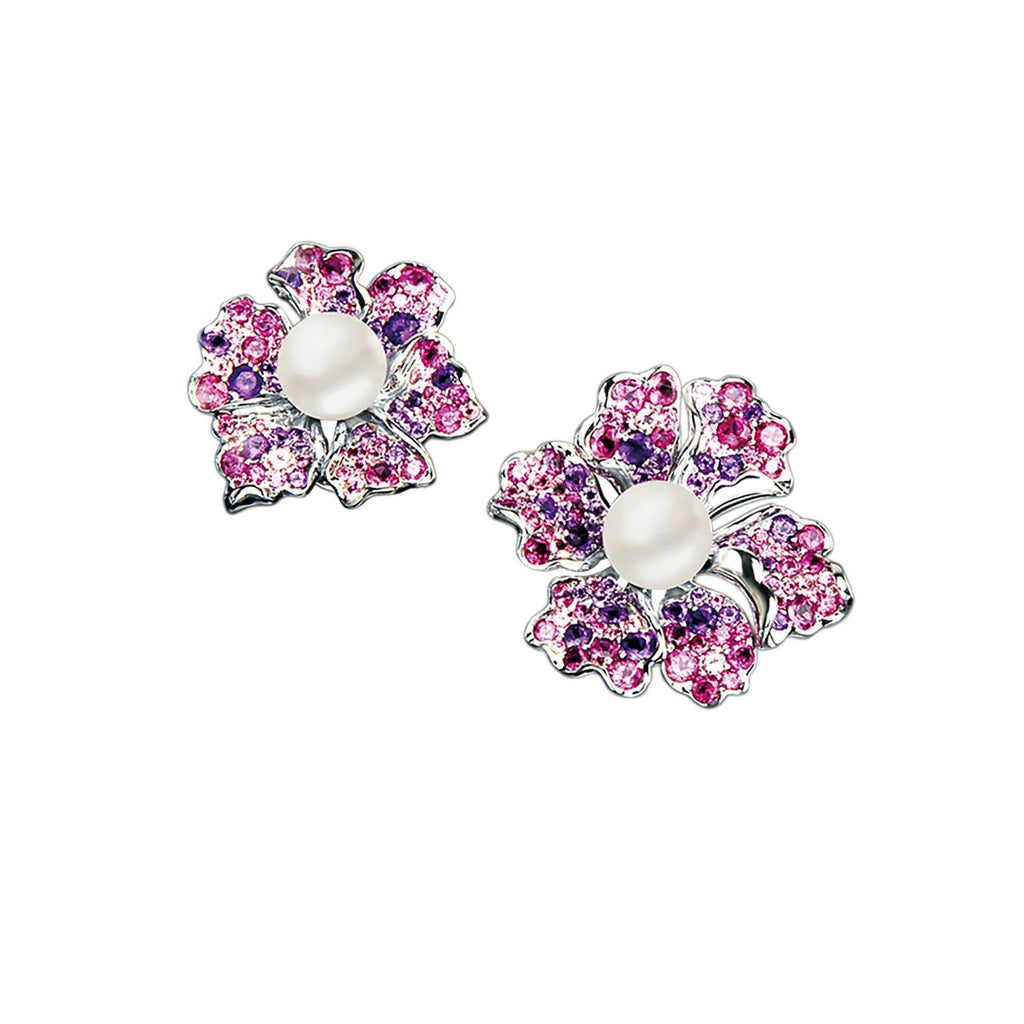 【NEMOPHILA】925 Sterling Silver Pink & Purple Gemstone Earrings - THE SPARKLE COLLECTION by GERMAN POOL