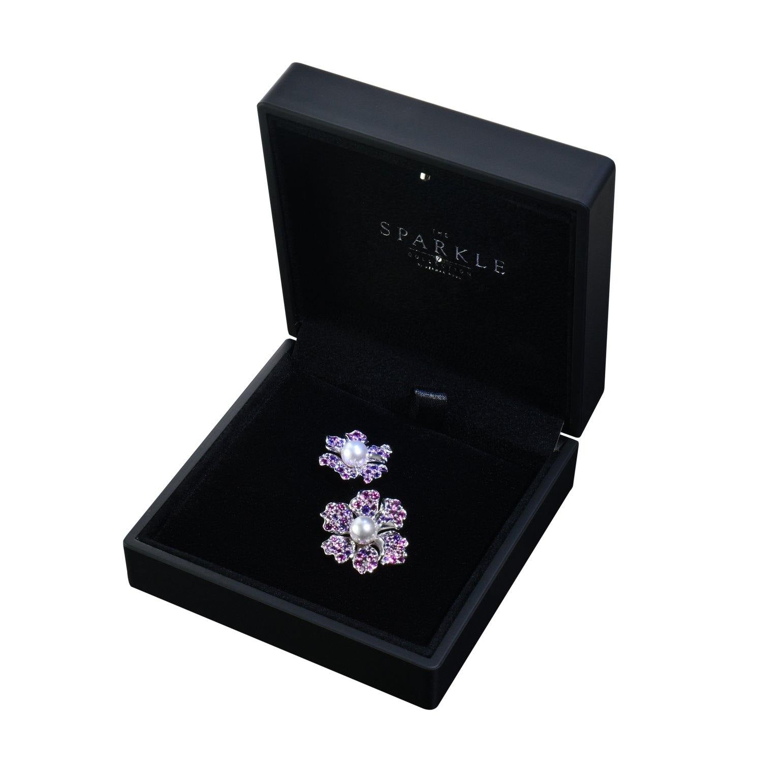 【NEMOPHILA】925 Sterling Silver Pink & Purple Gemstone Earrings