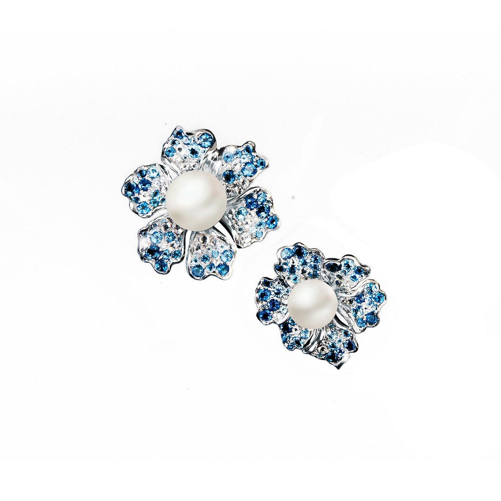 【NEMOPHILA】925 Sterling Silver Blue & White Gemstone Earrings - THE SPARKLE COLLECTION by GERMAN POOL