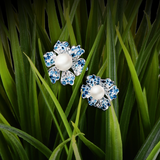 【NEMOPHILA】925 Sterling Silver Blue and White Gemstone Earrings with Swarovski® Crystal Pearls