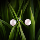 【PEARL】 925 Sterling Silver Earrings with Swarovski® Crystal Pearls - Pink