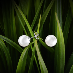 【PEARL】925 Sterling Silver Earrings with Crystal Pearls (12mm) - THE SPARKLE COLLECTION by GERMAN POOL
