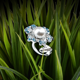 【NEMOPHILA】925 Sterling Silver Adjustable Blue and White Gemstone Ring with Swarovski® Crystal Pearl