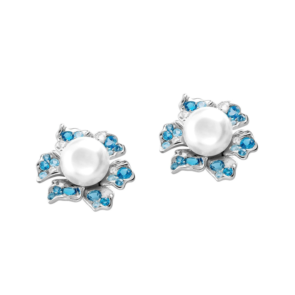 【NEMOPHILA】925 Sterling Silver Blue & White Gemstone Earrings(Earring Clips)