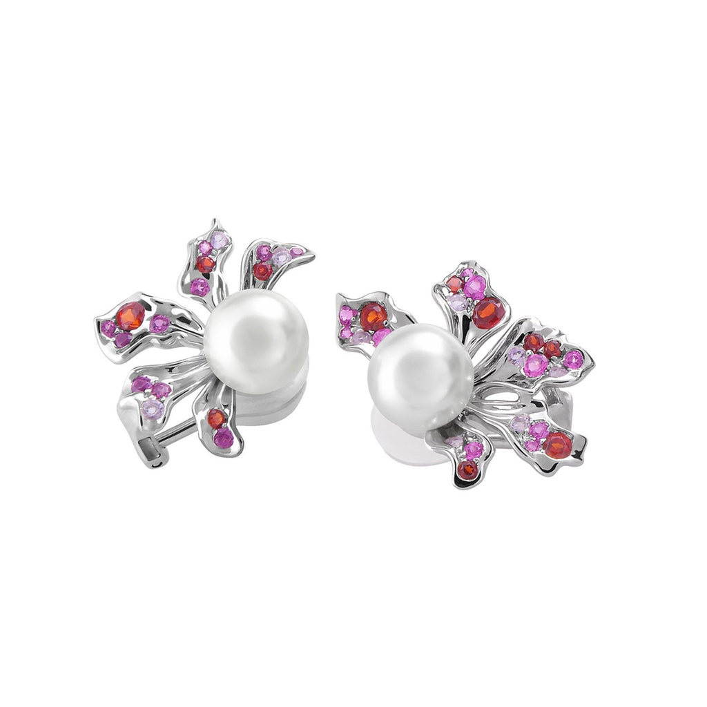 【BAUHINIA】925 Sterling Silver Pink & Purple Gemstone Earrings (Earring Clips) - THE SPARKLE COLLECTION by GERMAN POOL