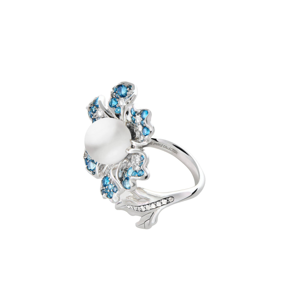 【NEMOPHILA】925 Sterling Silver Blue & White Gemstone Ring - THE SPARKLE COLLECTION by GERMAN POOL