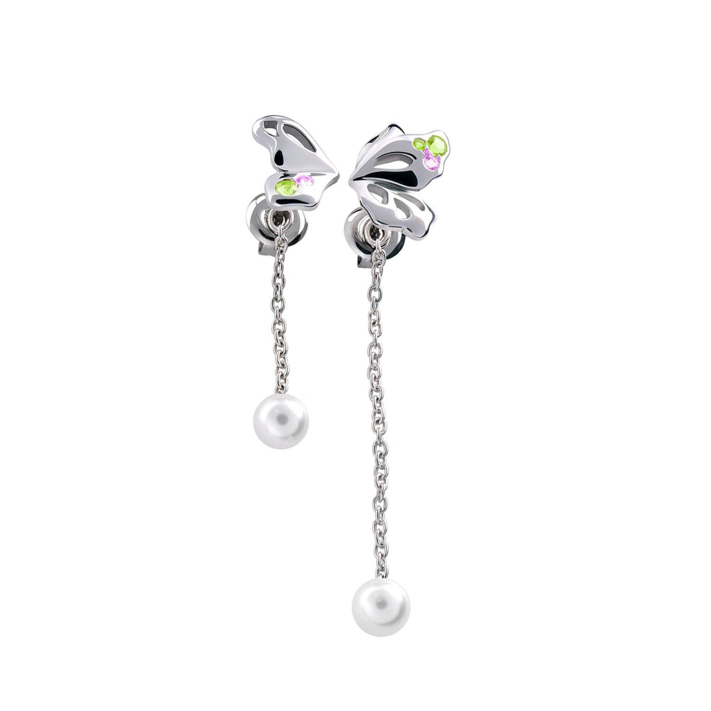 【BUTTERFLY】925 Sterling Silver Purple & Green Gemstone Drop Earrings - THE SPARKLE COLLECTION by GERMAN POOL