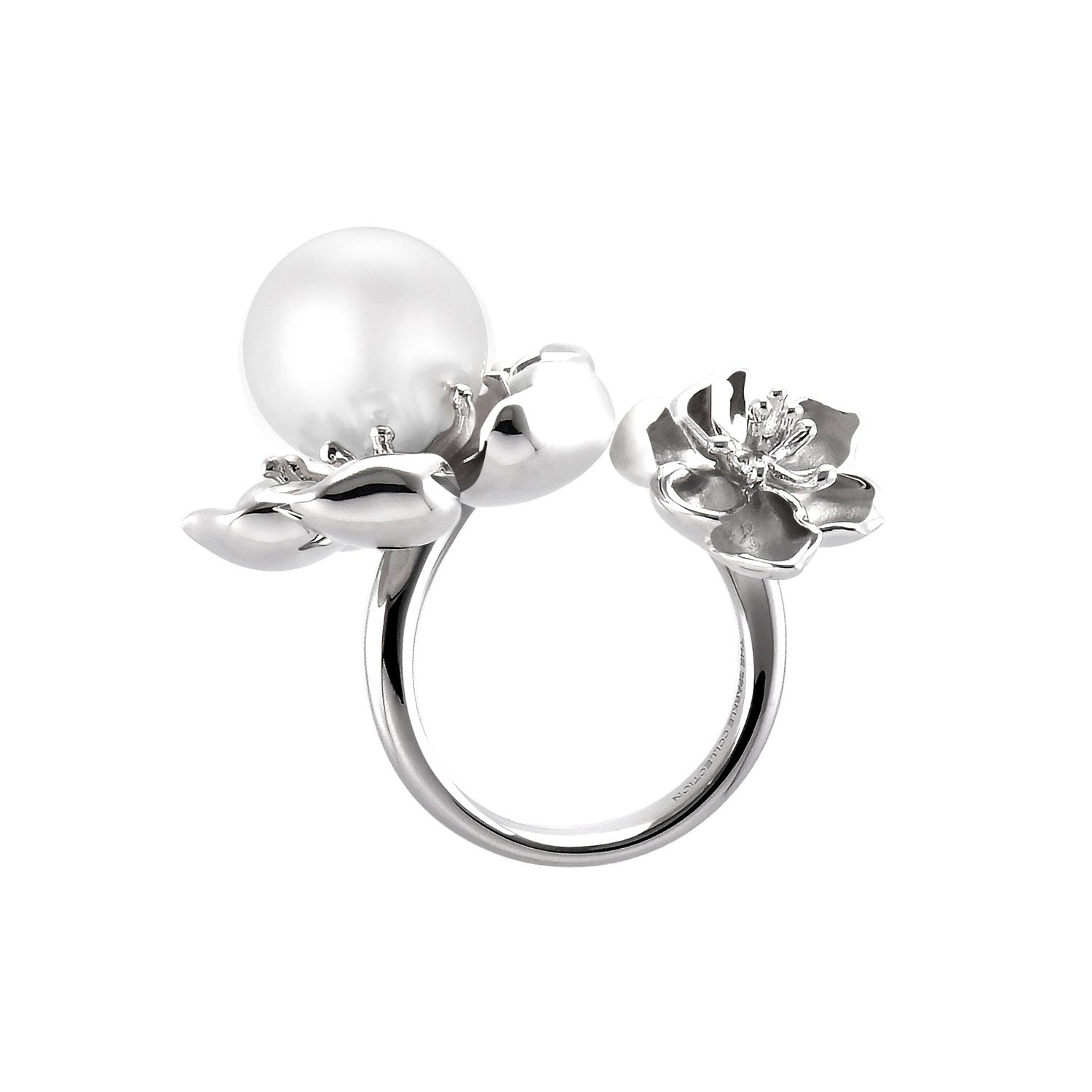【PEONY】925 Sterling Silver Ring with Crystal Pearl - THE SPARKLE COLLECTION by GERMAN POOL
