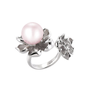 【PEONY】925 Sterling Silver Ring with Crystal Pearl