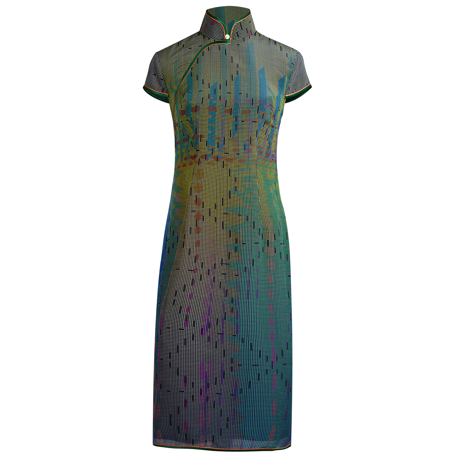 【SUNRISE SUNSET】100% Silk Cheongsam (Cap Sleeve / Regular Fit) - THE SPARKLE COLLECTION by GERMAN POOL