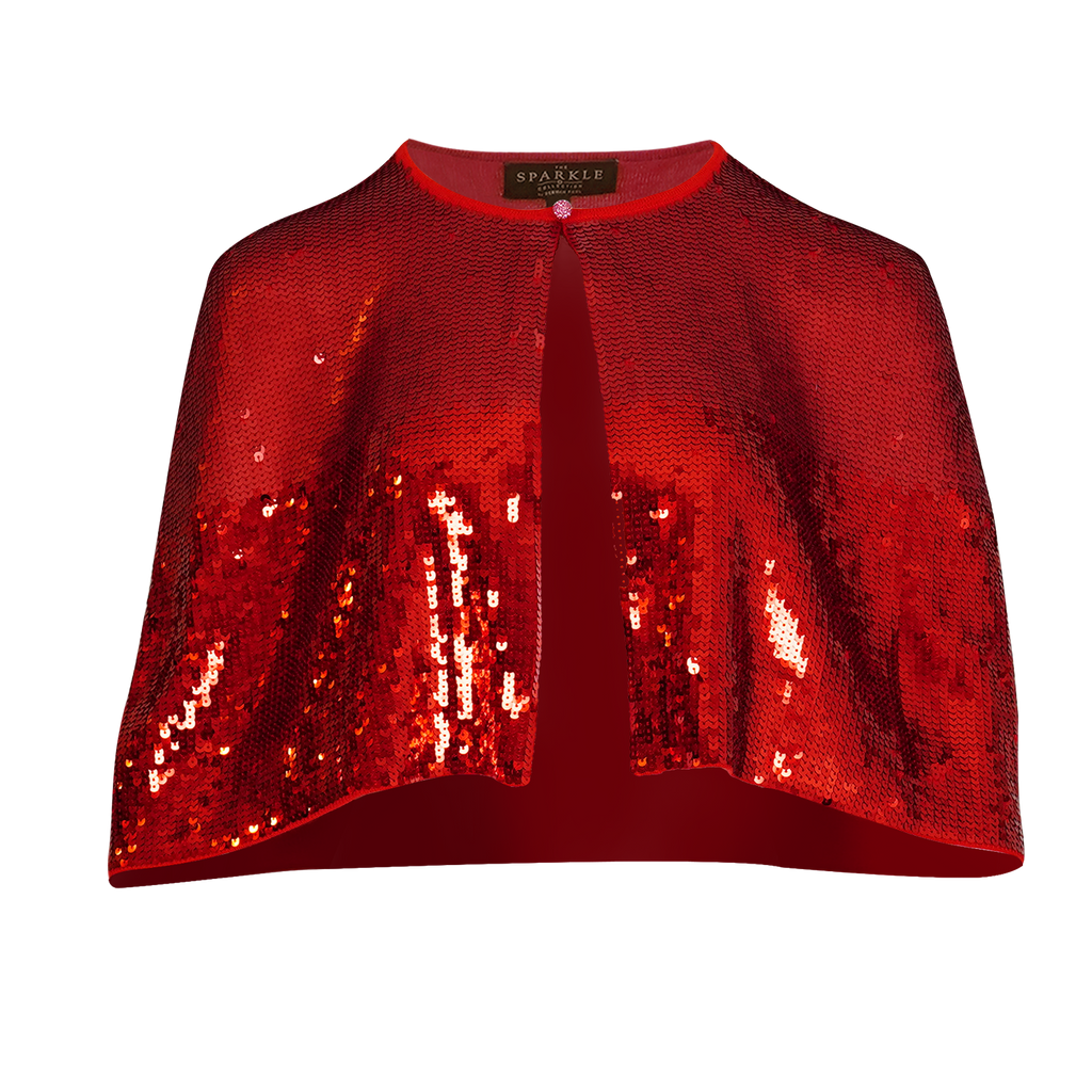 【FESTIVE】100% Cashmere Cape with Sequins & Crystal Button - THE SPARKLE COLLECTION by GERMAN POOL