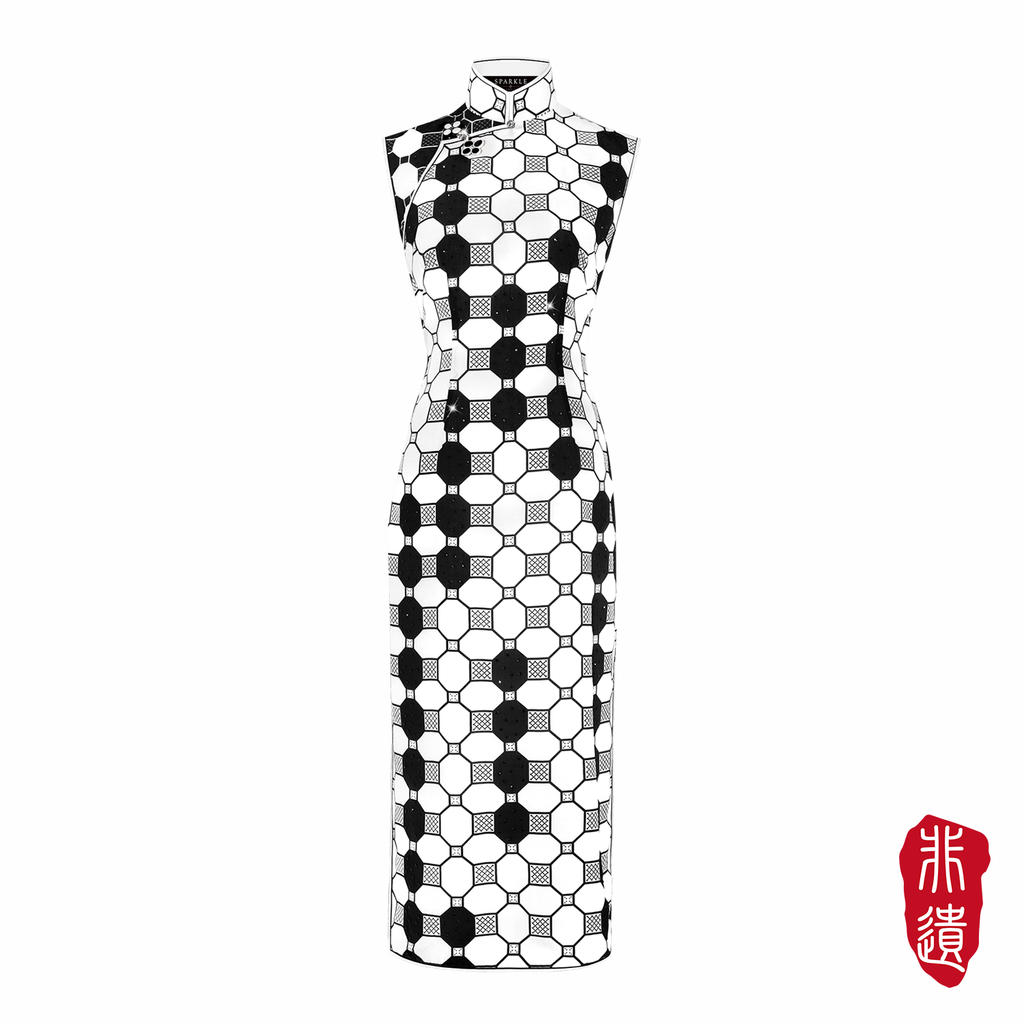 【TILE】Masterpiece Collection Haute Couture 100% Silk Cheongsam (Sleeveless/Tailored Fit) - THE SPARKLE COLLECTION by GERMAN POOL