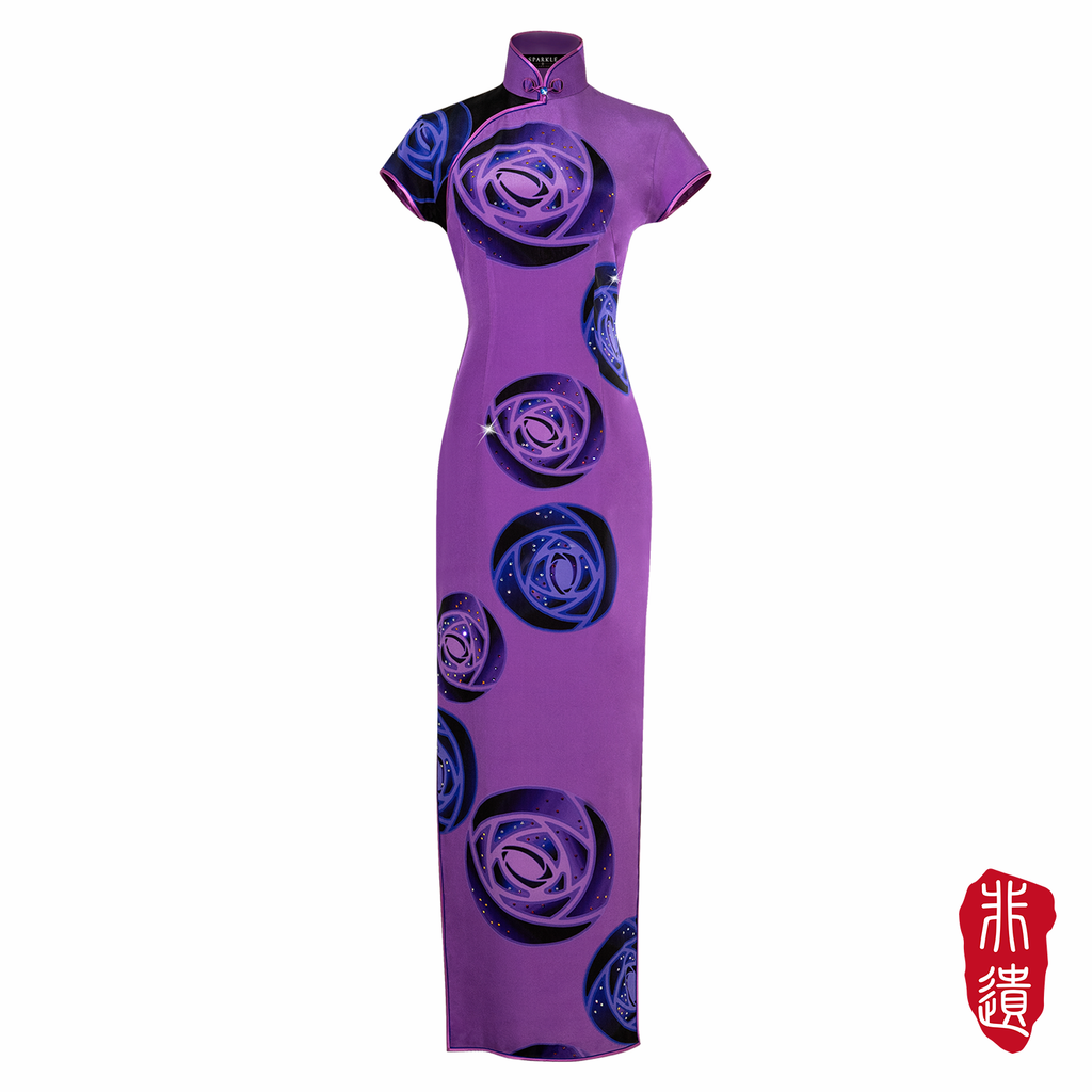【ROSE】Masterpiece Collection Haute Couture 100% Silk cheongsam (Cap Sleeve/Tailored Fit) - THE SPARKLE COLLECTION by GERMAN POOL
