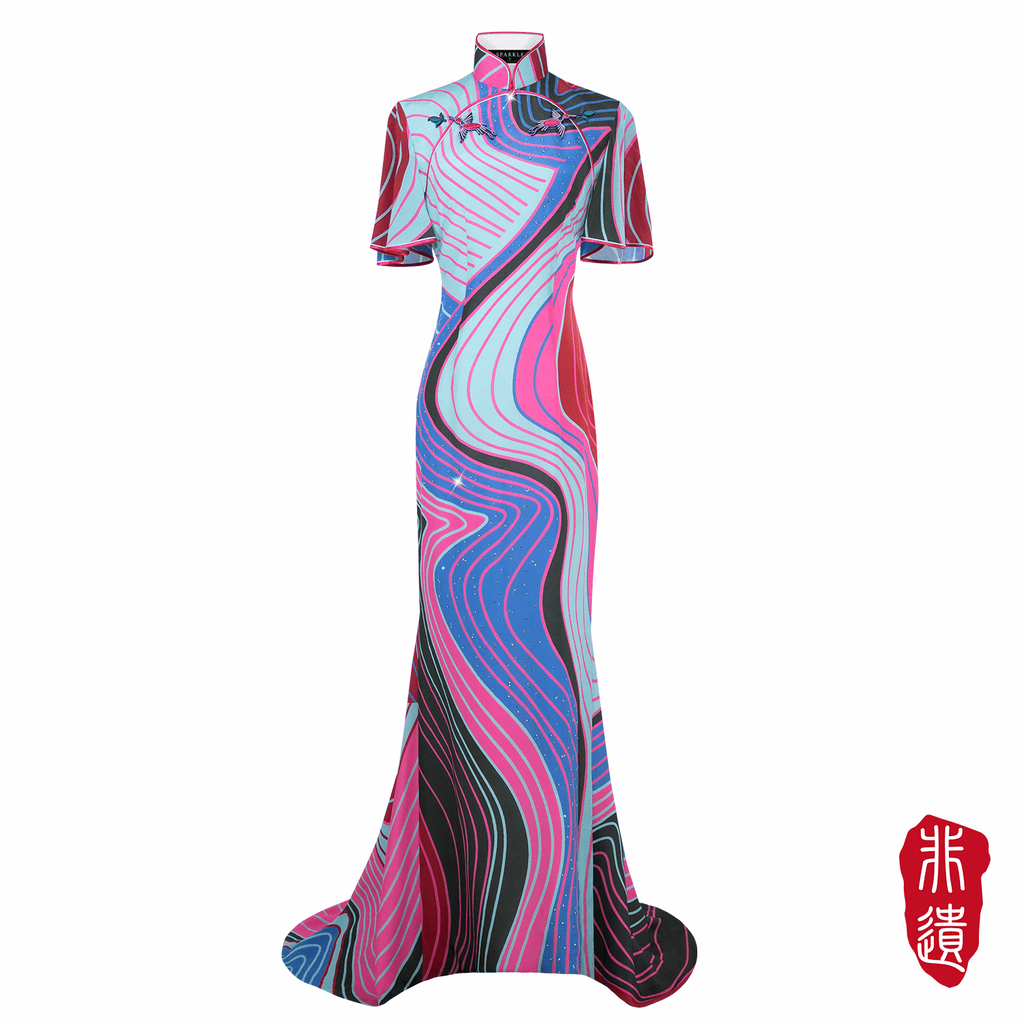 【CONTOUR】Masterpiece Collection Haute Couture 100% Silk Cheongsam - THE SPARKLE COLLECTION by GERMAN POOL