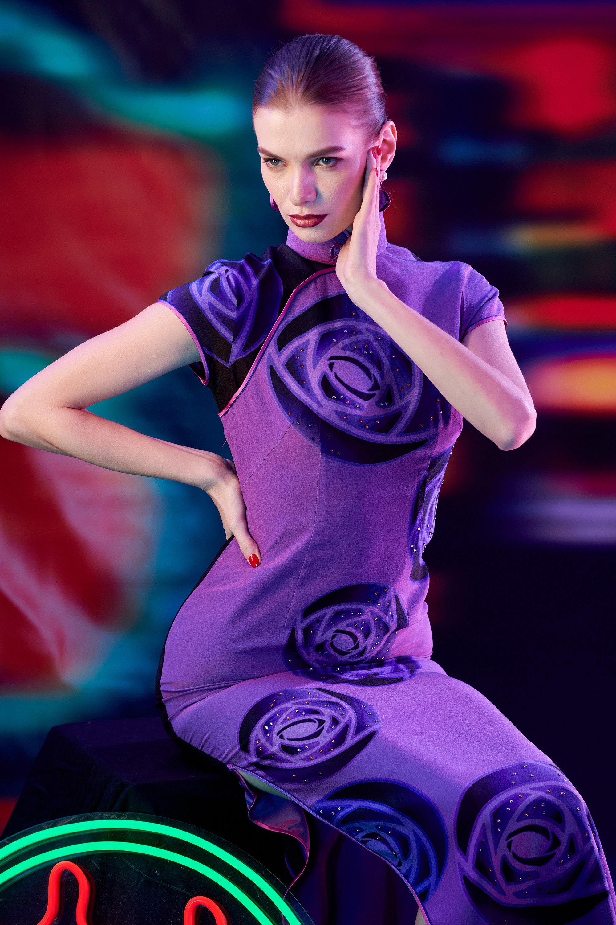 【ROSE】100% Silk Crystal Cheongsam (Cap Sleeve / Regular Fit) - THE SPARKLE COLLECTION by GERMAN POOL
