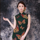 【BUTTERFLY】100% Silk Below Knee Qipao with Swarovski® Crystals - Emerald