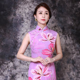 【BAUHINIA】100% Silk Qipao with Swarovski® Crystals - Purple
