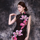 【BAUHINIA】 100% Silk Qipao with Swarovski® Crystals - Black