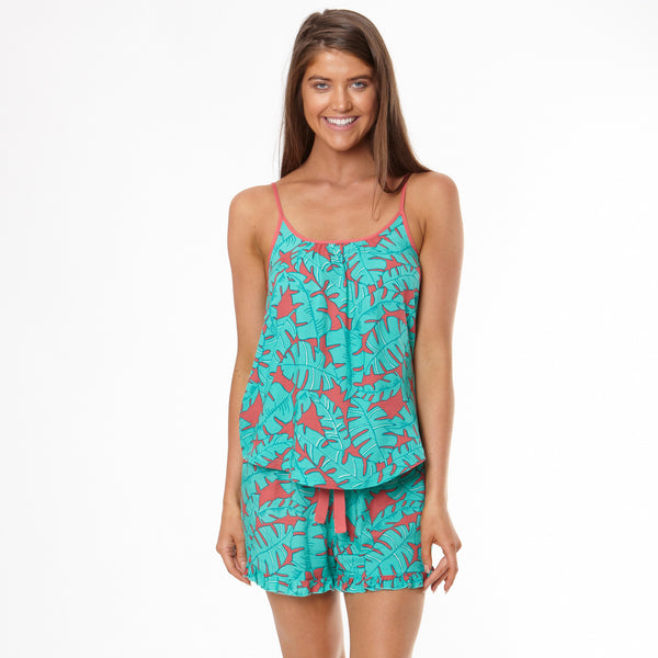 Women's Banana Leaf Cami & Short Pyjama Set