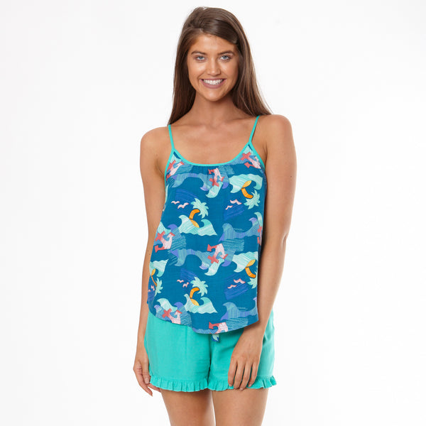Women's Paper Hawaiian Cami & Frill Short Pyjama Set
