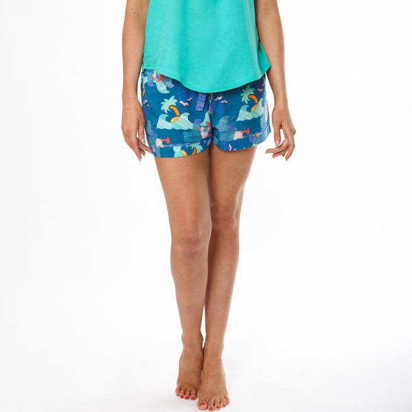 Women's Paper Hawaiian Turn Up Pyjama Shorts