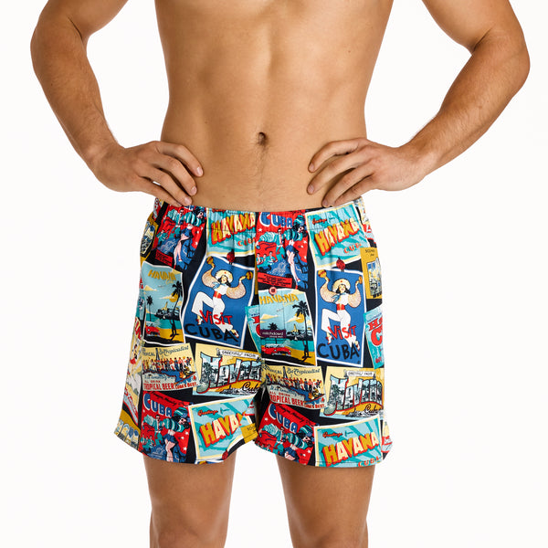 Men's Postcard from Havana Printed Woven Boxer