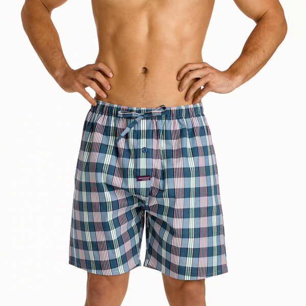 Men's Havana Check Mid Length Yarn Dyed Pyjama Shorts