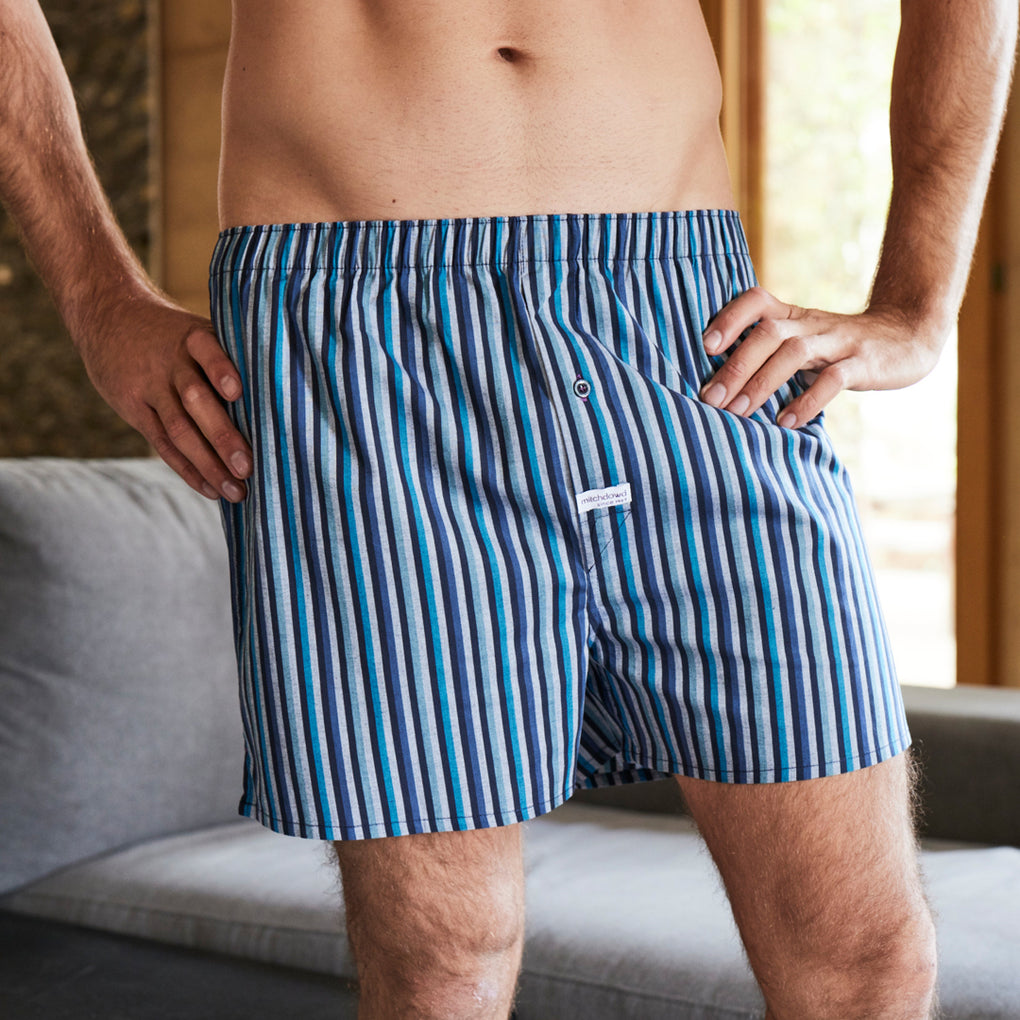 Men's Bering Stripe Yarn Dyed Stretch Boxer Short