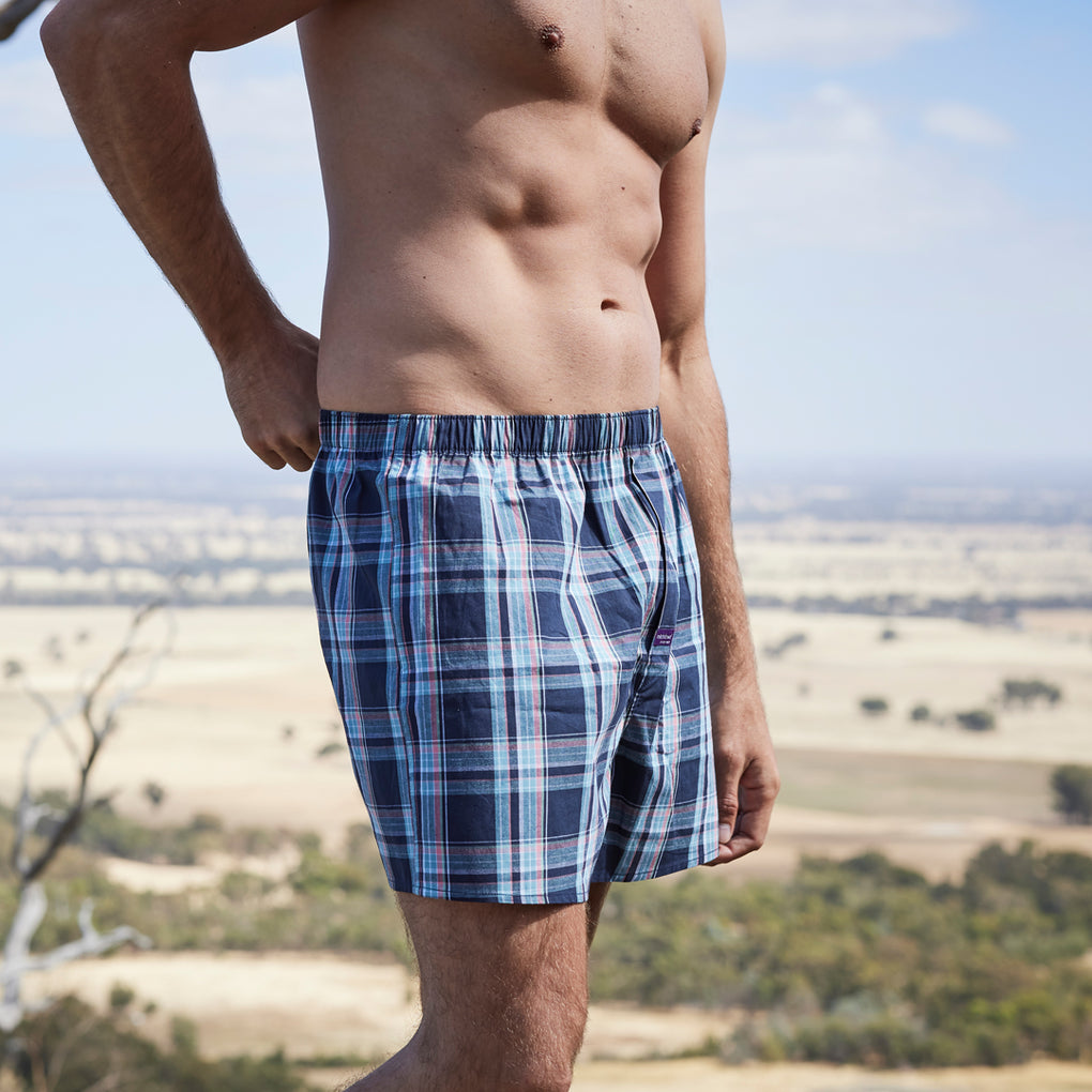 Men's Sargasso Check Yarn Dyed Boxer Short