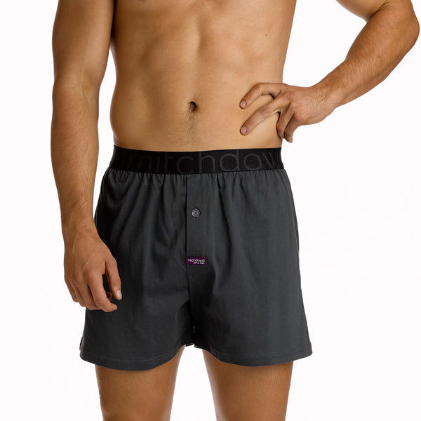 Men's Loose Fit Knit Boxer Short - Charcoal