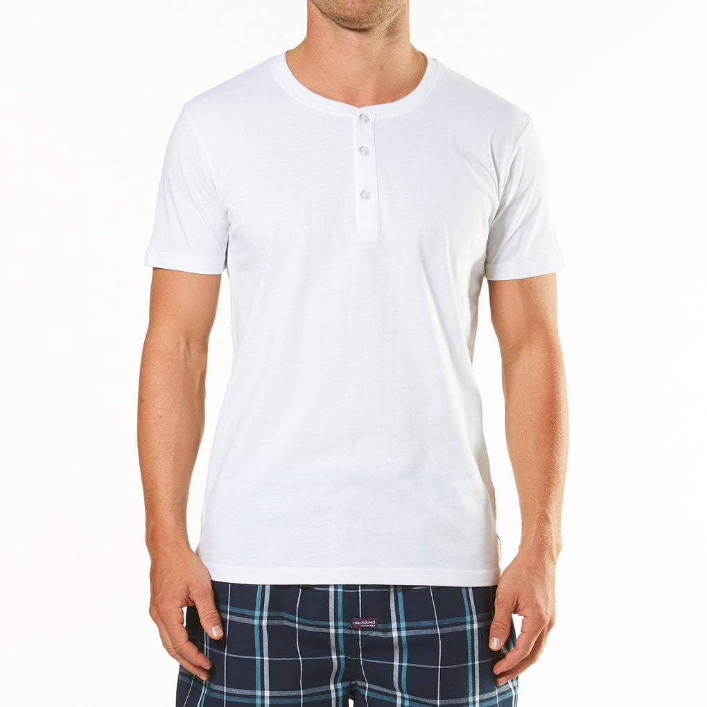 Men's Short Sleeve Henley Pyjama Tee - White