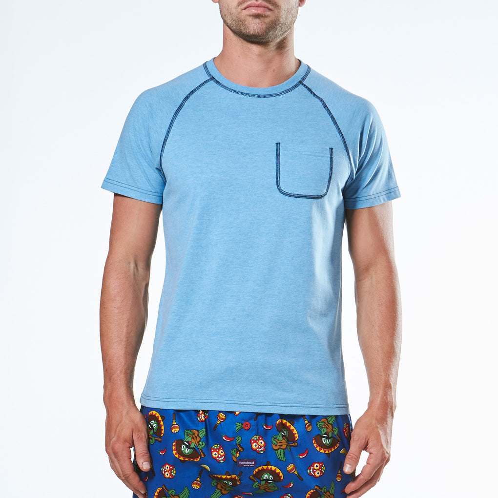 Men's Short Sleeve Cover Stitch Pyjama Tee