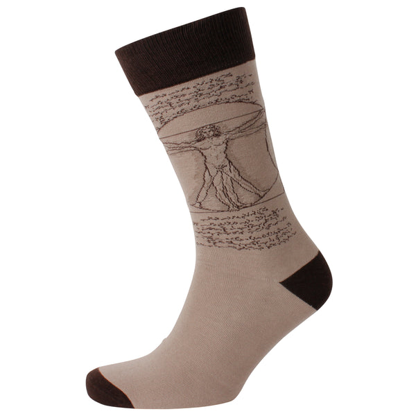 Men's Vitruvian Man Jacquard Crew Socks