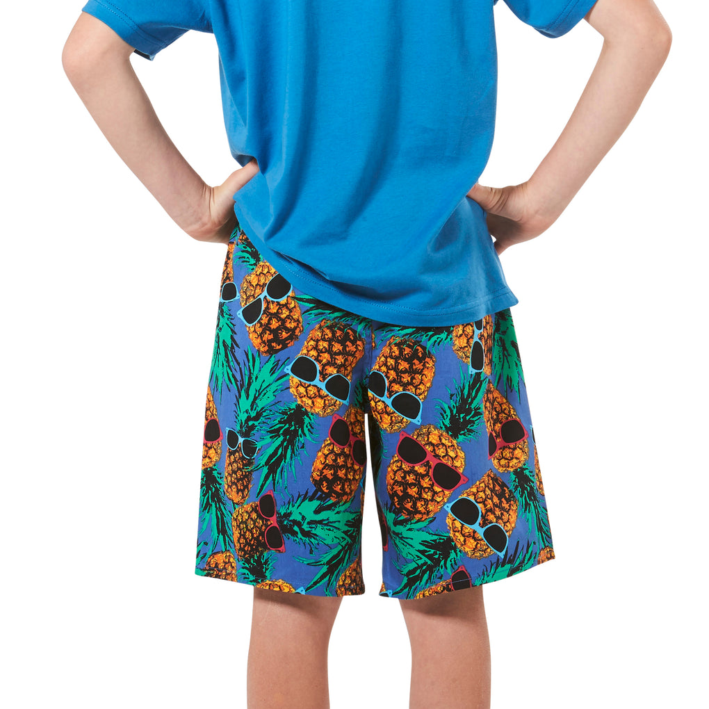 Boy's Mr Pineapple Head Printed Cotton Pyjama Shorts