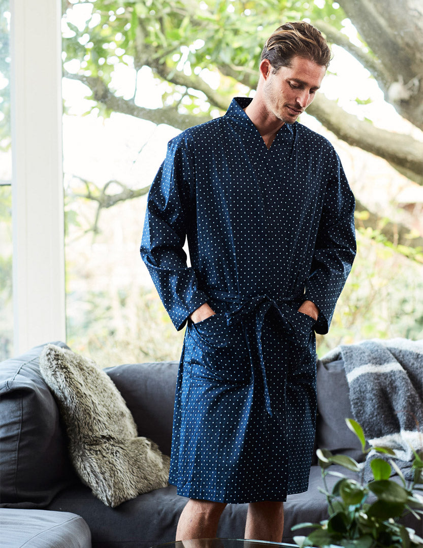Men's Brooklyn Printed Cotton Robe